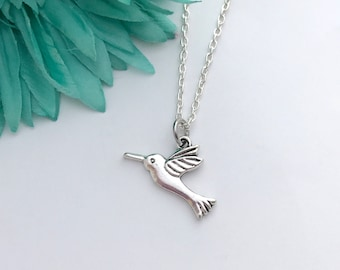 Hummingbird necklace -  hummingbird with chain necklace - fun necklace - silver necklace with lobster clasp - great gift - comes wrapped