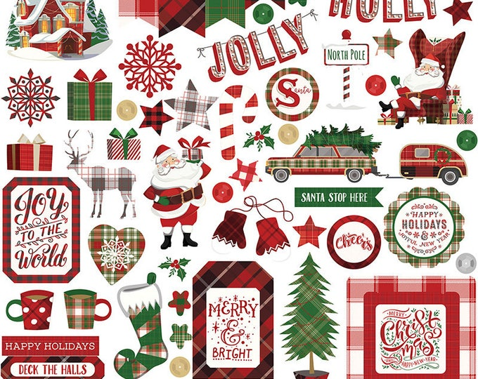 1 - 12x12 Sheet of Photo Play MAD 4 PLAID CHRISTMAS Scrapbook Element Stickers
