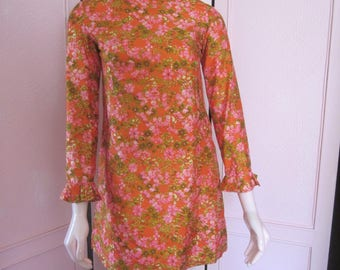 1960s Floral Print Silk Shift, Sizes 2 - 4