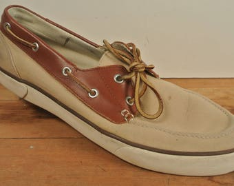 Polo Ralph Lauren Beige/Brown Canvas Moc Toe Boat Shoe Men's Size: 12D