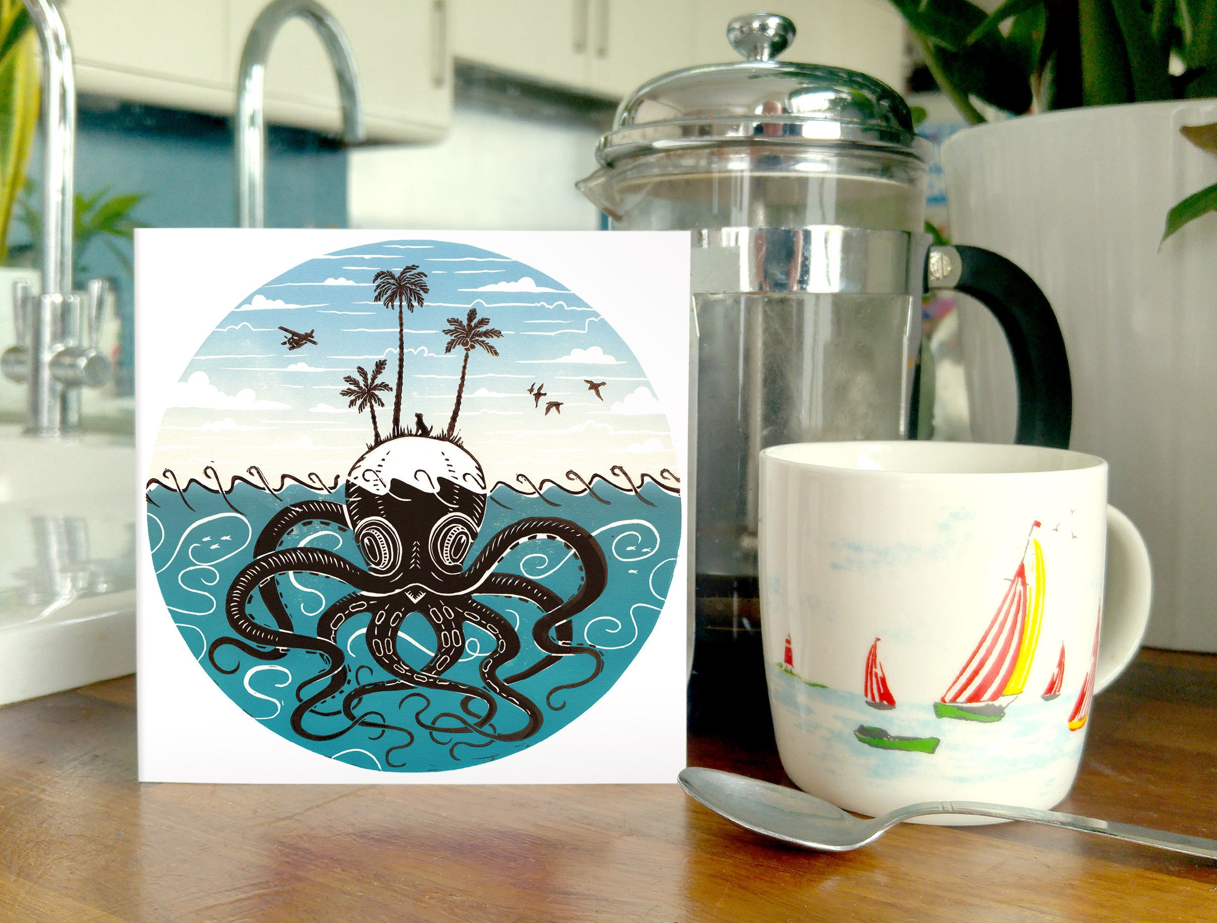 Seascape 2 pack set blank greetings cards a whimsical nautical seascape 2 pack set blank greetings cards a whimsical nautical kraken octopus and whale kristyandbryce Image collections
