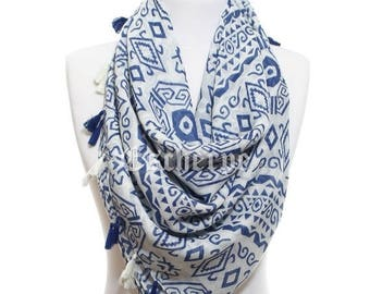 Aztec Scarf Navy White Trial Scarf So Soft Lightweight Spring Summer Women Fashion Accessories Spring Celebrations Trend Gift Ideas For Her
