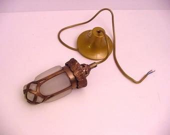 vintage lamp, glass encased in bronze