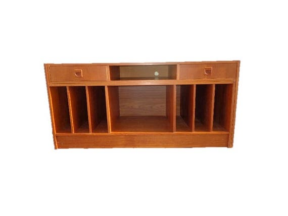 2PC Modular Unit Mid Century Modern Danish Teak Finish TV