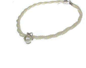 Pearl & rhinestone necklace, Wedding necklace, Prom necklace, Pearl pendant necklace