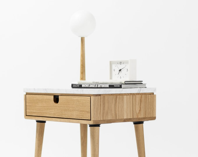Nightstand with one drawer in solid Walnut / oak board and top in Marble