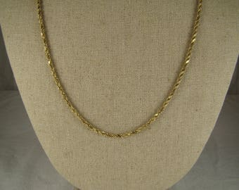 "OR Signed 14K Gold Rope Chain Necklace ~ 22 1/2"" Long"