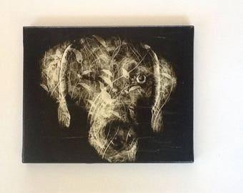 Canvas Weimaraner black and white print