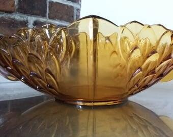 Vintage Large Retro Amber Pressed Fruit Serving Bowl