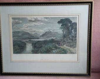 Vintage Coloured Victorian Print Loch Lomond