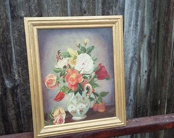 Vintage Original Oil Painting Still Life in Gilt Frame