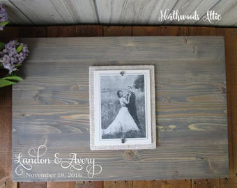 "First Names Wedding Guest Book Alternative Wood Sign - Rustic Wedding Decor Wood Sign - Guest Sign In - 16x24"" - MADE TO ORDER"