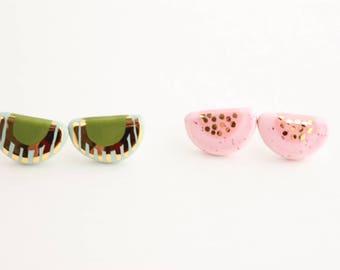 Two Tone Earrings, Gold Geometric Earrings, Half Circle Earrings, Semicircle Earrings, Gold Gift for Her under 40, Patterned Stud Earrings