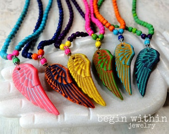 Festival Jewelry | Angel Wing Necklace | Rainbow Angel Wing Mala Beads