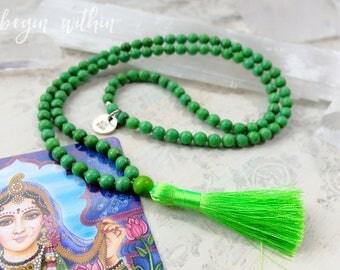Green Mala Beads | Green Tassel Necklace | 108 Mala Beads in Green Magnesite | Yoga Jewelry