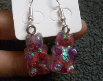 gummy bear earrings #2 purple and red