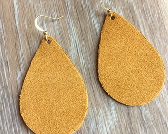 Goldenrod Suede GENUINE LEATHER Earrings