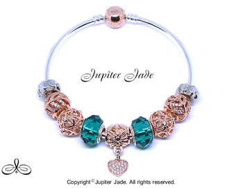 Authentic Pandora Rose Gold Clasp 925 Silver Charm Bracelet BANGLE - Pave CZ European Rose Gold Charms -Faceted glass - Teal Aqua Green B377