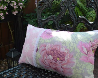 """Handmade 20""""x12"""" Cotton Cushion Lumbar Pillow Cover in Mauve Brocade Peony Floral & Pink/White Floral Design Prints with Delicate White Lace"""