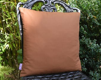 "Handmade 16""x16"" Cotton Cushion Accent Pillow Cover in Plain Chestnut Brown"