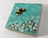 "Bumblebee painting, Original impressionistic oil painting of a Bumblebee,  3x3"" on cradled panel, bee art, bees"