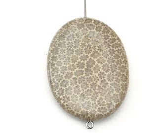 1 fossil coral stone bead/ 30mm x 40mm/ puffed oval #PP101