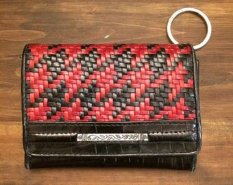 Woven croco leather wallet & keychain