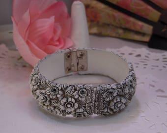 Vintage Chrysanthemum Celluloid Clamper Bracelet