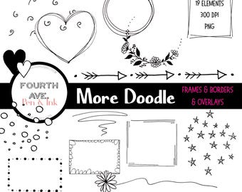 Doodle Clipart, Doodle Frames and Borders, Doodle Overlays, Black and White, Digital Scrapbook, Doodle Clipart, Clilpart