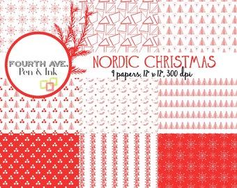 Nordic Christmas Digital Paper, Christmas, Nordic, Scandinavian, Red and White, Digital Paper,Digital Paper Pack, Scrapbook Paper