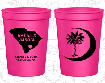 Neon Pink Stadium Cups, Neon Pink Cups, Neon Pink Party Cups, Neon Wedding Cups (76)