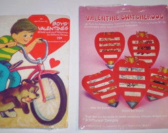 Vintage Lot of 2 NEW Packages of Vintage Hallmark Valentines Boy Valentines & Valetine Switcheroos 80's Era