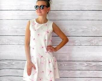 beautiful short dress pastel in pink dragonflies cotton