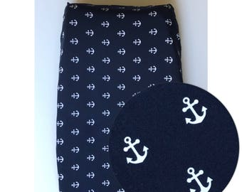Navy blue nautical anchor pattern baby changing pad cover, nursery, baby room, shower gift, baby gift, 100% cotton