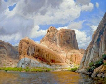 Afternoon Rain Lake Powell - 8x10 inch Print,  Original Oil Painting by Jurgen Wilms, Utah Southwest Landscape Painting, Archival Print