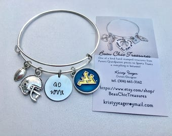 WVU West Virginia University Mountaineers College Team Sports Football Bangle Blue and Yellow