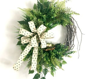 Green Wreaths for Front Door Green Wreaths for Spring Farmhouse Wreaths Year Round Wreaths Everyday Wreaths Spring Summer