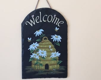 Slate Hand Painted Welcome Sign