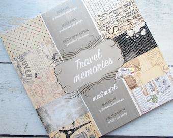 "Block 30 sheets 15 x 15 cm ""Travel memories"" Scrapbook"