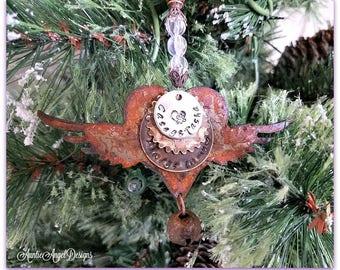 Stamped Pet Angel Wings Ornament, Custom Angel Pet Ornament, Angel Wings Baby Loss Ornament, Custom Angel Wings Ornament, Baby Sympathy Gift