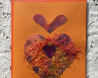 Hand Painted Orange HEART WATERCOLOR Heart Greeting CARD, Blank Inside, Colorful Contrasting Envelope, EmbellishedTextiles, Ephemera
