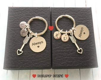 Personalised couple gift - Always keychains - Gift for couple - Anniversary gift - Wedding gift - Valentine's Day gift - Arrow keychains