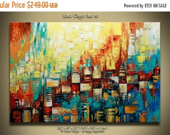 Summer Sale Tempo Original Abstract Landscape Painting Contemporary Modern Textured Palette Knife by Lana Guise