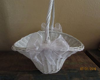 Vintage Wedding flower girl basket, You pick color of ribbon
