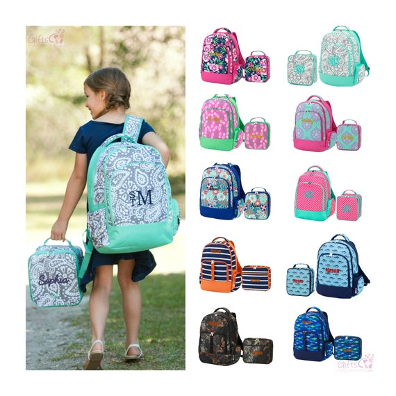 Monogrammed Matching Backpack & Lunchbox Set Girls Boys Kids