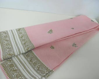 Mid Century Tablecloth Hollywood Regency 1960 Pink Gold