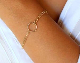 Circle Bracelet, Karma Bracelet, Double Chain Bracelet, Gold Bracelet, Small Circle Bracelet ,Dainty Gold Bracelet, Minimal Bracelet