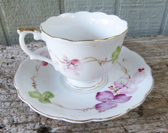 Floral Occupied Japan Cup & Saucer Demitasse Cup with elegant Flowers with gold gilt edges
