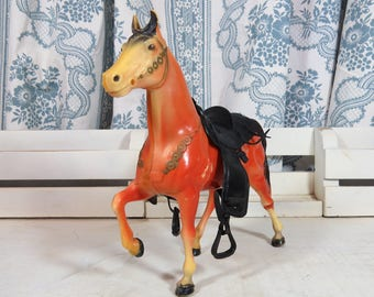 """Vintage Plastic Toy Horse with Saddle 8 1/2"""" x 8"""""""
