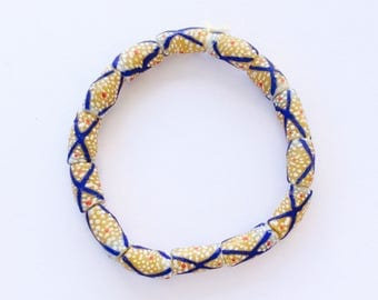 Cylinder Honey yellow with blue and white design African Krobo Recycled Glass Trade Beads (14PCS)